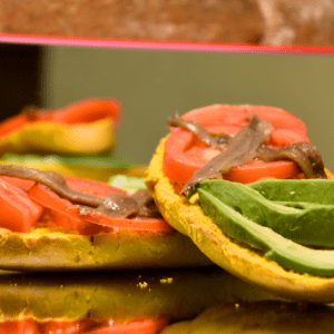 Bocadillo 29 (Anchoas, aguacate y tomate)